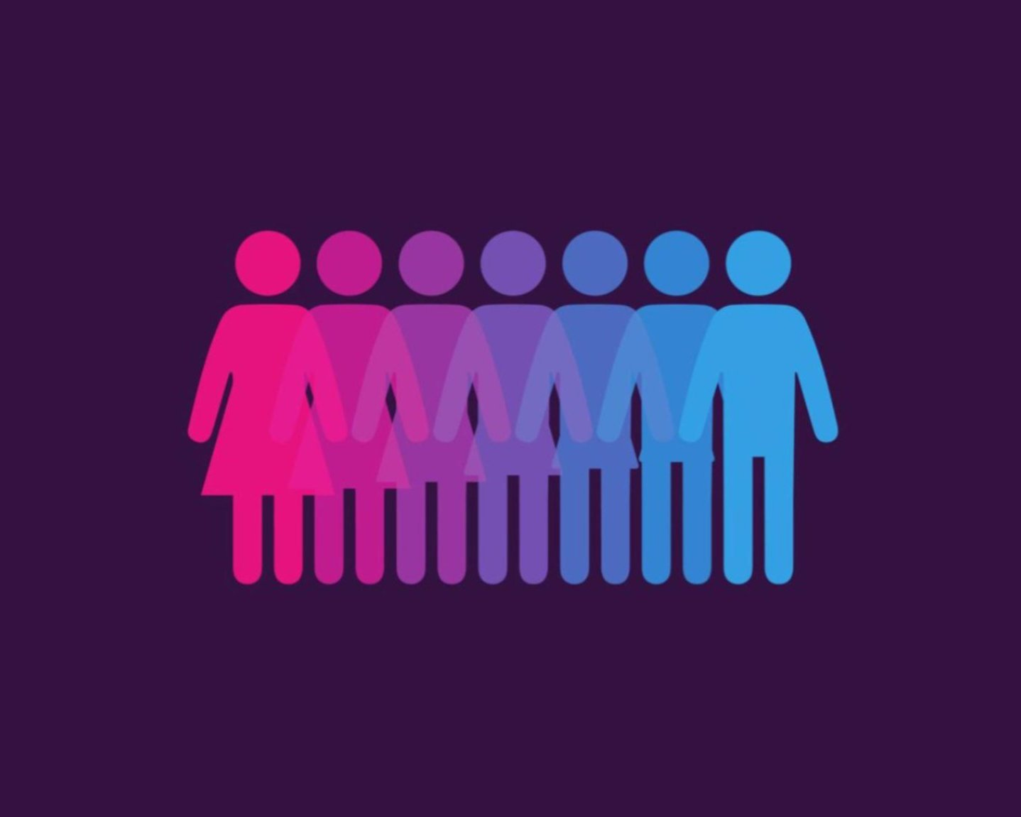 On the left there is a pink female outline on the right there is a blue male outline. Between the two are a gradient of transformations between the two genders ranging from pink to blue. The image is sat against a navy background.